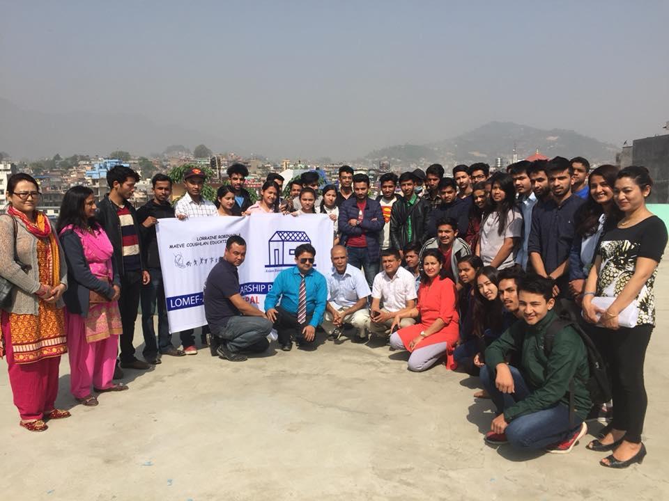 The group photo of students attending LOMEF scholarship examination in Kathmandu, Nepal