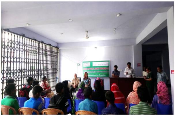Distributing scholarships in Joypurhat, Bangladesh